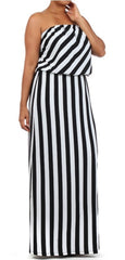 * BLACK AND WHITE STRIPED MAXI SUNDRESS