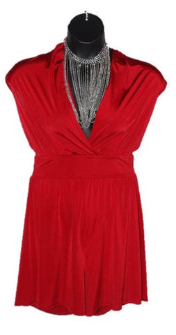 * SHORT ROMPER -RED