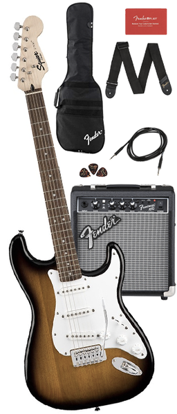 Fender 371823032 Paquete de Guitarra Eléctrica Squier (BROWN SUNBURST)