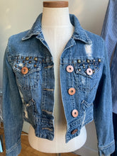 Load image into Gallery viewer, Z. Cavaricci Distressed Crop Denim Jacket-M