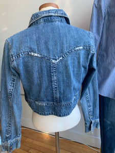 Z. Cavaricci Distressed Crop Denim Jacket-M