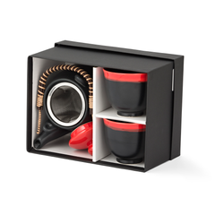 3 Piece Tea Set - Black/Red