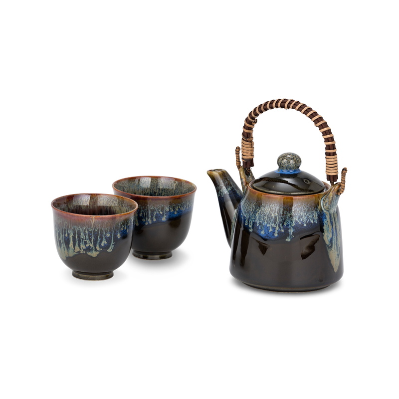 3 Piece Tea Set - Black/Blue