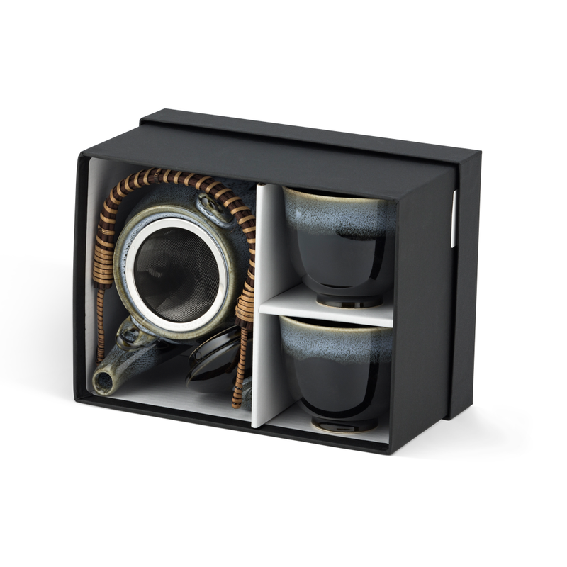 3 Piece Tea Set - Grey/Black