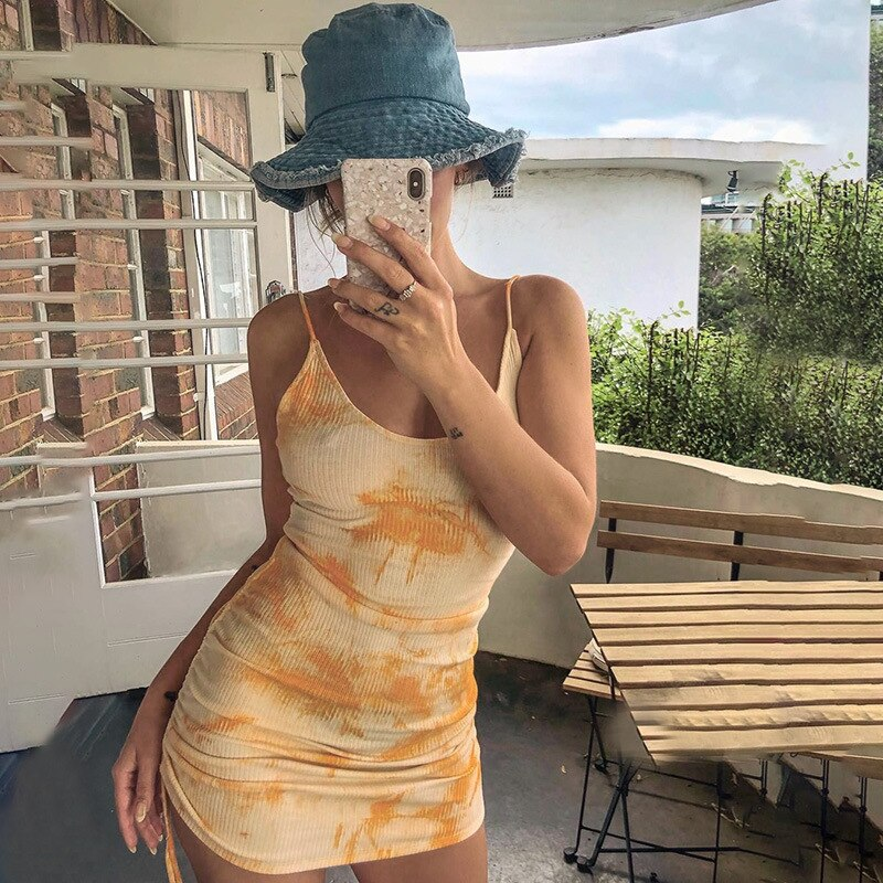 Darlingaga Fashion Tie Dye Strap Bodycon Sexy Dress Backless Drawstring Summer Dress Female Clothes Ruched Sundress Mini Dresses