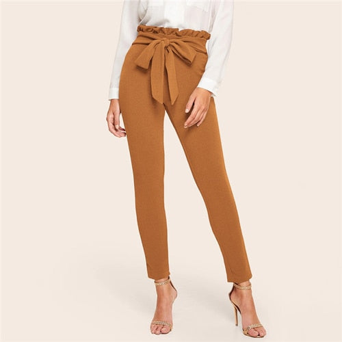 Elegant Frill Trim Bow Belted Detail Solid High Waist Pants