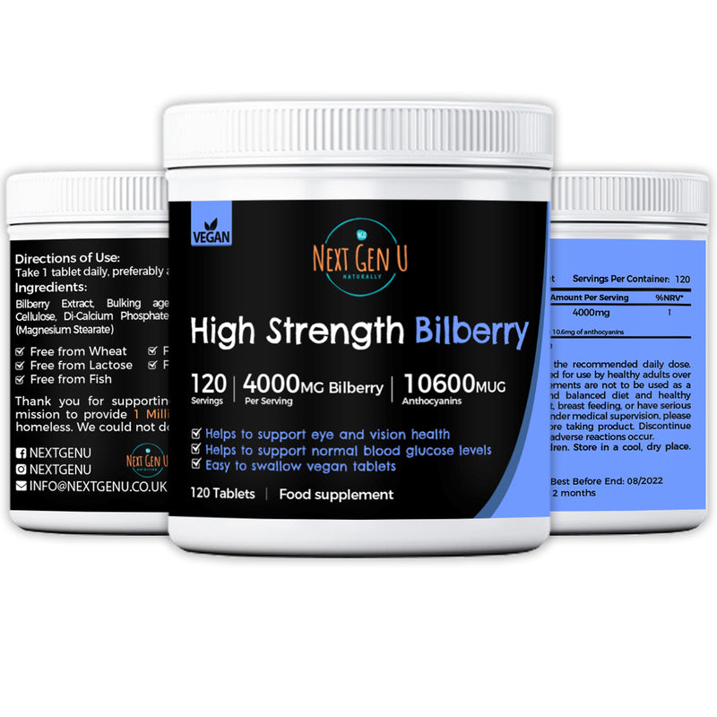 180 High Strength Vegan Bilberry Tablets