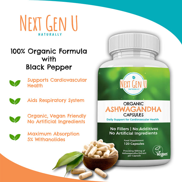 120 Organic Ashwagandha With Black Pepper 500mg Capsules