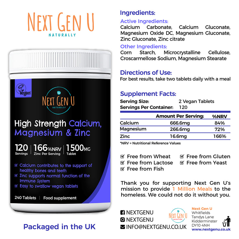 120 Calcium Magnesium and Zinc Tablets Supplement High Strength Vegan