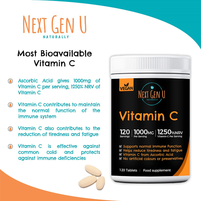 Next Gen U 120 Vitamin C Tablets High Strength Vegan Tablets