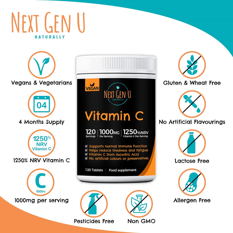High Strength Vitamin C - 120 Vegan Tablets