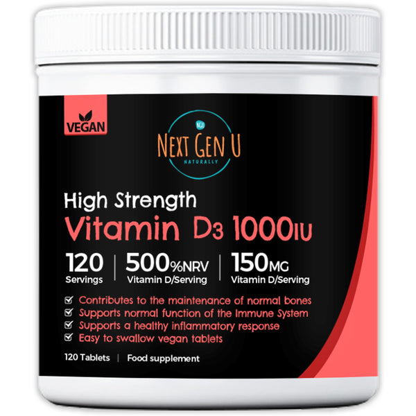 120 Vitamin D Tablets 1000iU Supports Normal Immune Function
