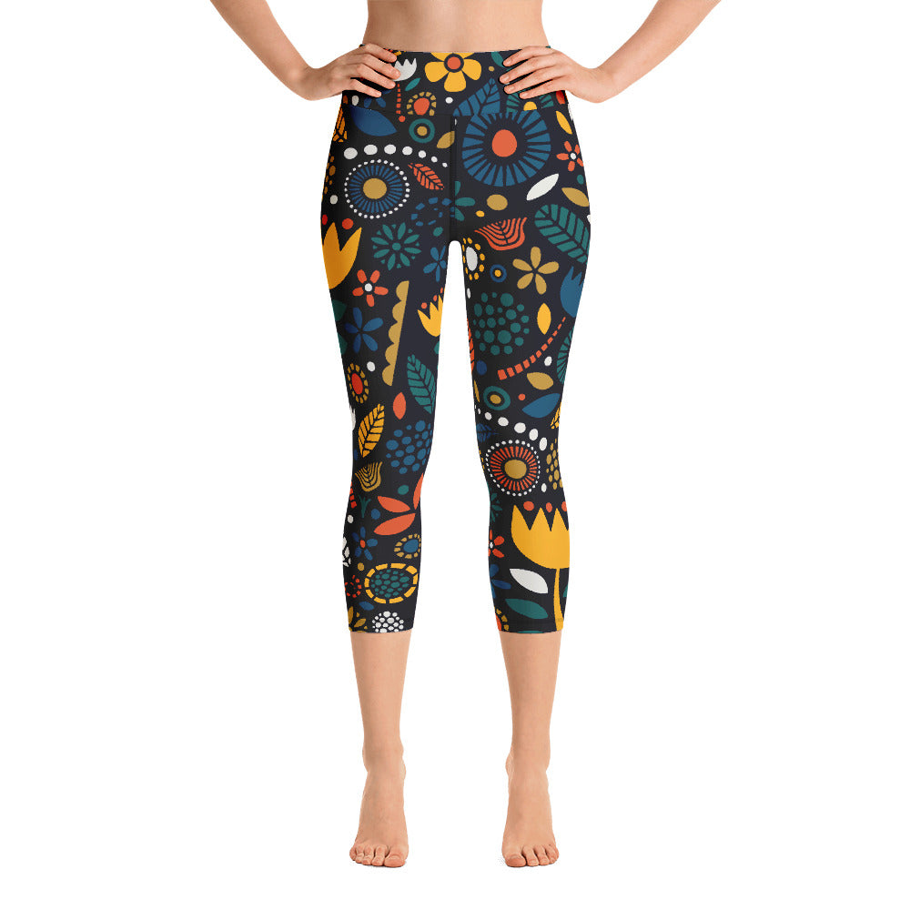 Flower Power! Yoga Capri Leggings
