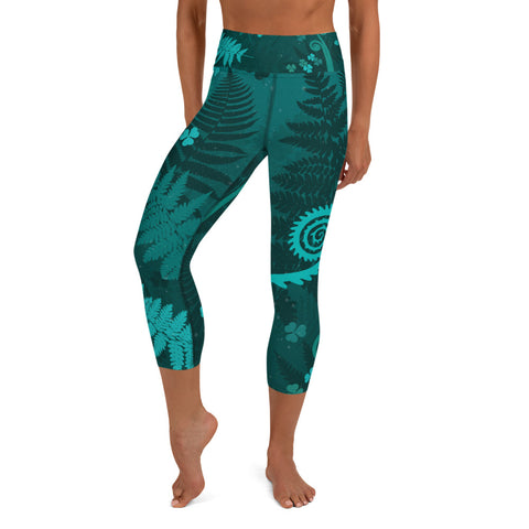 Forest Ferns Yoga Capri Leggings