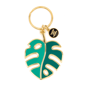 Monstera Leaf Enamel Keychain