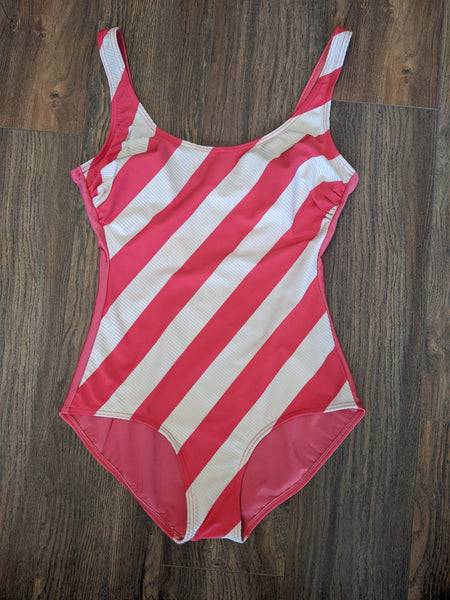 Pink & White Striped One-Piece Swimsuit