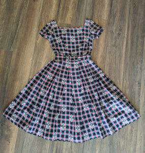 1950's Pink & Grey Checkered Dress