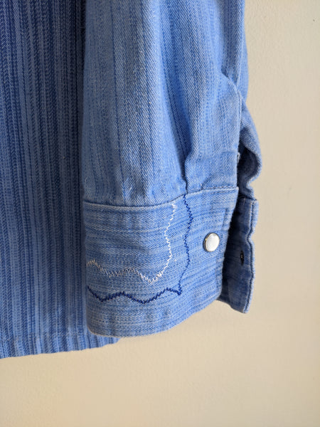 Men's 1970's Embroidered Denim Shirt