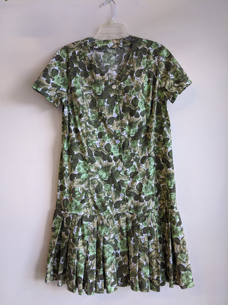 1960's Green Floral Drop Waist Day Dress
