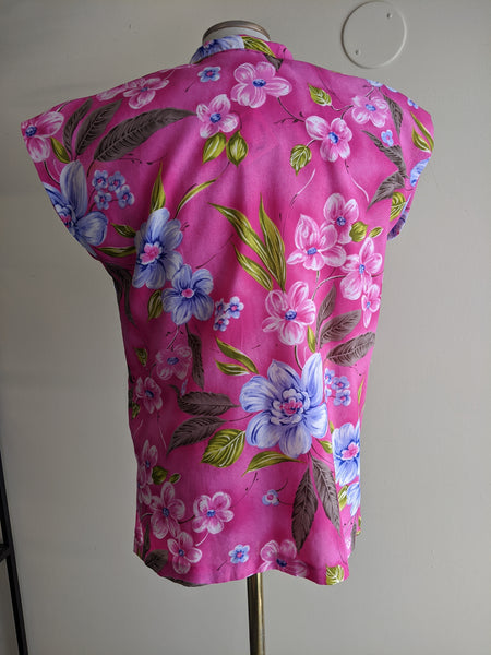 Sleeveless Pink Tropical Top