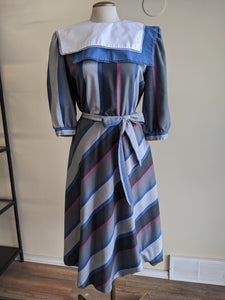 80's Striped Secretary Dress