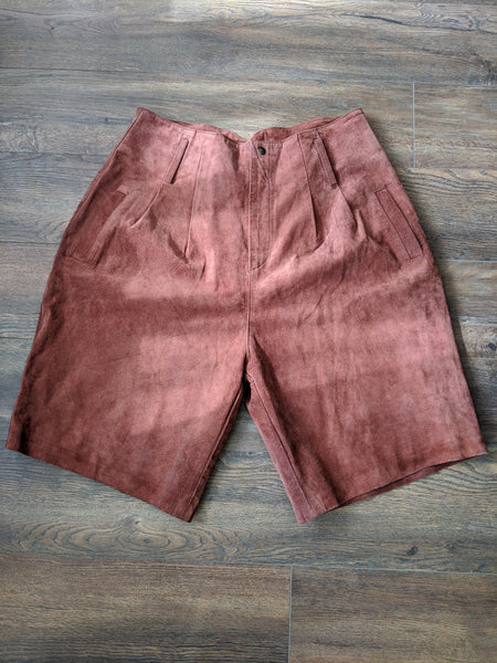 High-waisted 1980's Suede Shorts