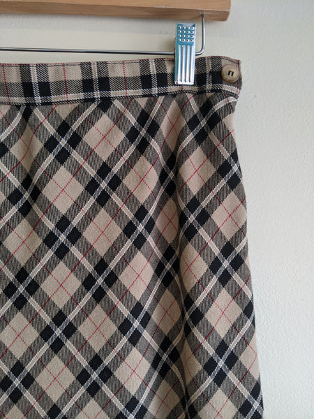 1990's Plaid Maxi Skirt