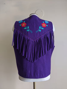 Funky Fringed Purple Wool Vest