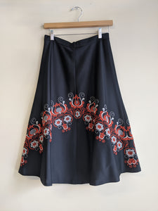 1970's Embroidered Floral Skirt