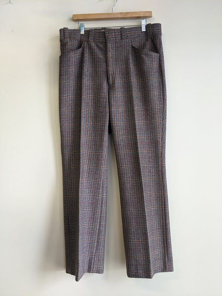 1970's Brown Plaid Trousers