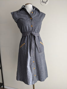 Gorgeous Grey 1970's Wool Shirt Dress