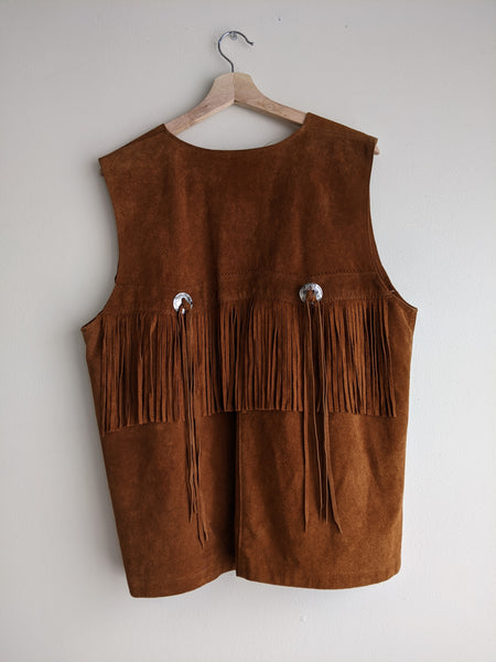 Fringed Leather Western Vest
