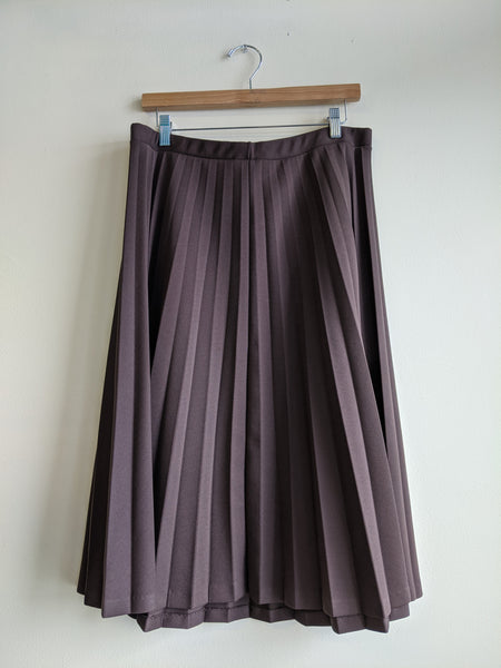 Brown Pleated Polyester Skirt