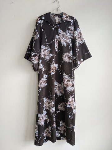 1970s Polyester Floral Shirt Dress