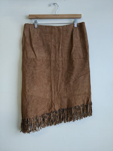 Fringed Le Chateau Leather Skirt