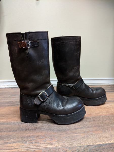 German Military Leather Platform Boots