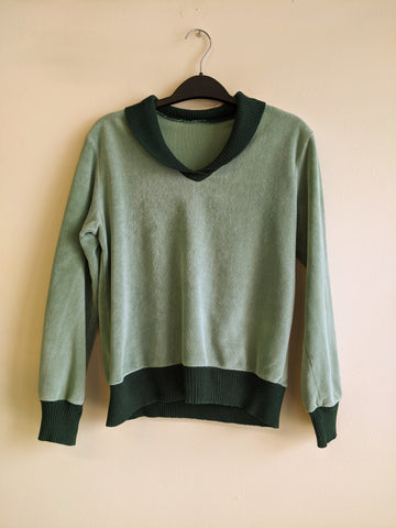 Two-Tone Green Velour Sweater