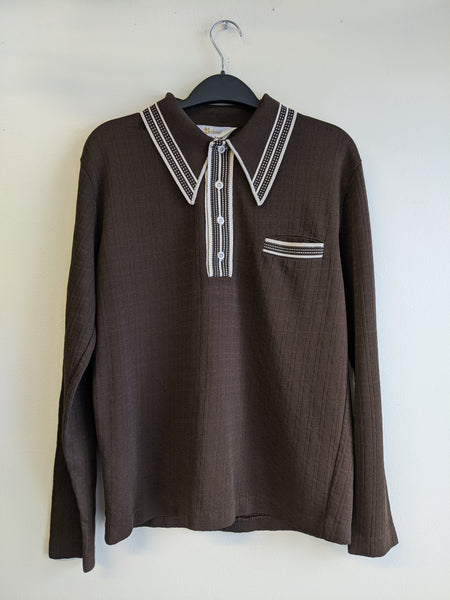 Brown Collared 70's Knit Pullover