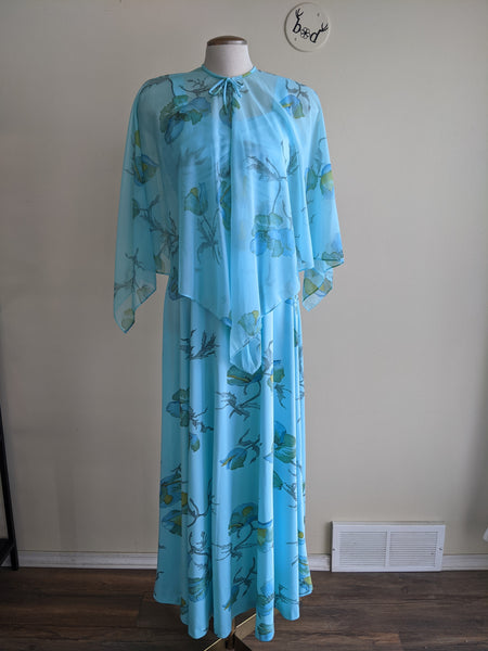 Dreamy Blue 1970s Dress & Cape Set