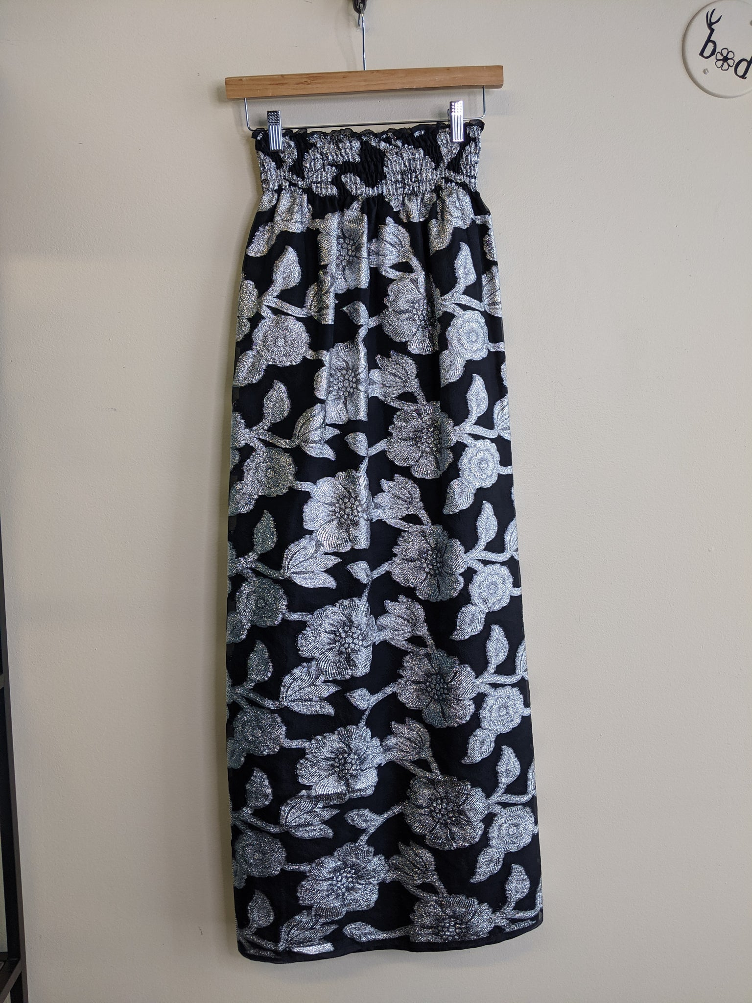 Silver & Black Long Brocade Skirt