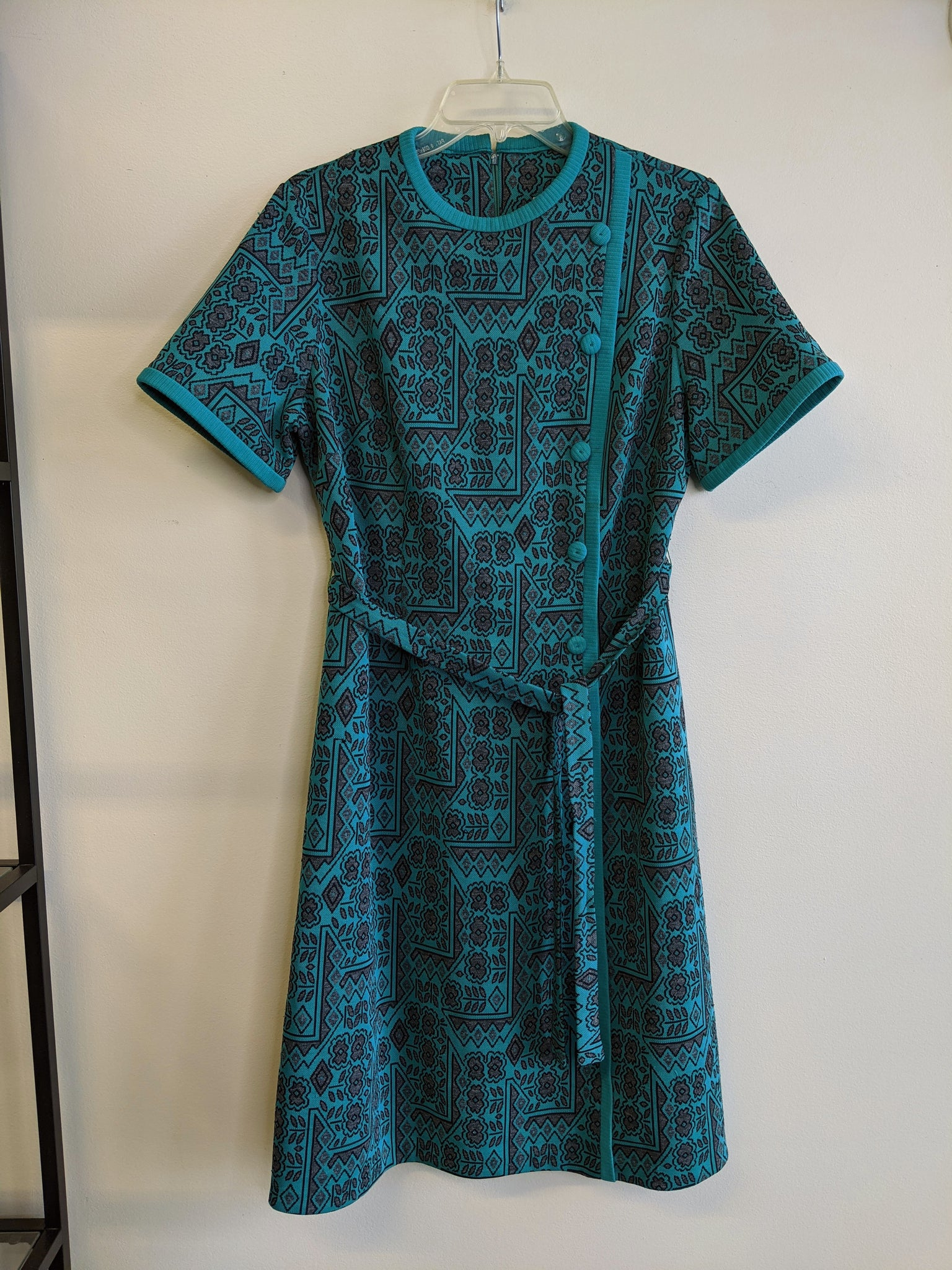 1970's Teal Geometric Print Dress