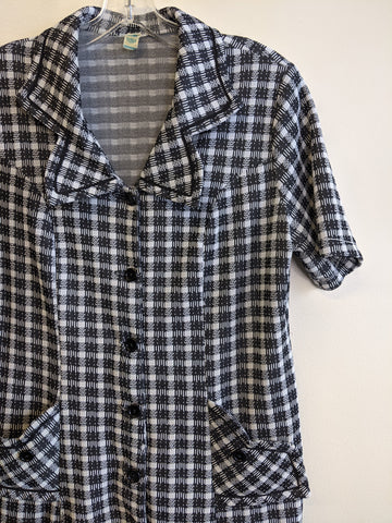 1970's Checkered Button-Front Dress
