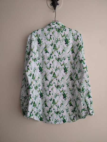 Geometric Green & White Men's Button-down
