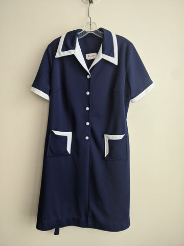 Button-Up Blue & White 70's Dress