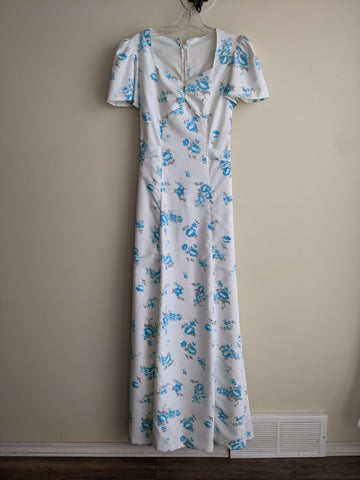Full-length Ivory & Blue Floral Gown