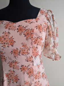 Orange & White Floral Prairie Dress