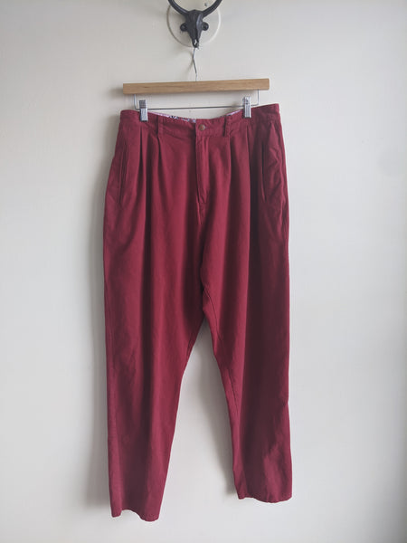 Cherry Red Pleated Pants