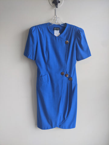 Royal Blue Structured Wrap Dress
