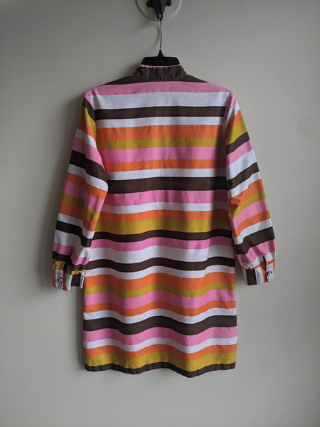 1960's High Collar Striped Dress