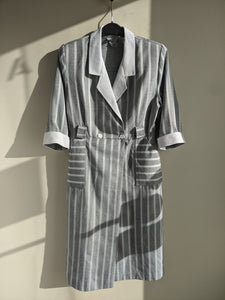 Striped Grey & White Wrap Dress
